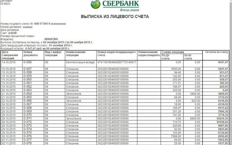 Скринфот баланса личного счета от сбербанка
